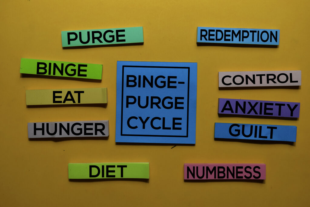"""A graphic showing the binge-purge cycle for Equipoise Teletherapy. It reads """"hunger, eat, binge, purge, redemption, control, anxiety, guilt, numbness, diet."""" Learn more about binge eating disorder treatment in Chicago, IL and nutrition counseling can support you from home!"""