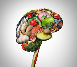 A group of various foods in the shape of a brain for Equipoise Teletherapy and a haes therapist in Chicago, IL. We offer treatment for disordered eating in Chicago, IL, virtual eating disorder treatment, and more. Contact us to get in touch with an eating disorder therapist today!